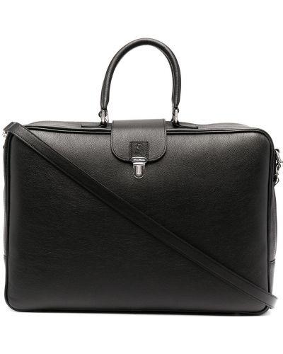 Черный кожаный портфель с карманами Emporio Armani