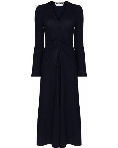 Niebieska sukienka rozkloszowana z długimi rękawami Rotate
