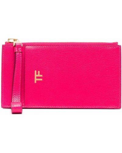 Розовый кожаный кошелек со шлицей Tom Ford