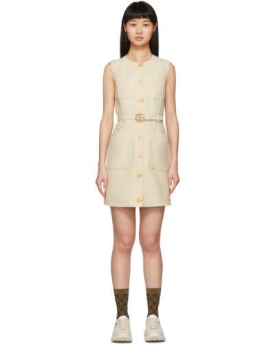 Платье с поясом на пуговицах с отложным воротником Gucci