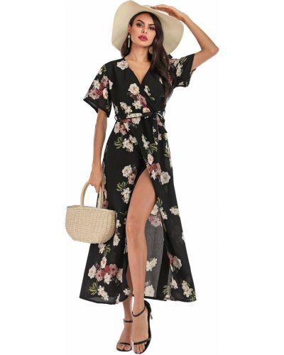 Платье с поясом в стиле бохо с цветочным принтом Zaful