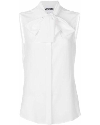 Белая блузка с воротником-стойкой Moschino