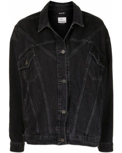 Хлопковая черная джинсовая куртка с воротником Ksubi