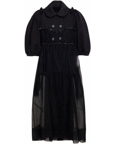 Ażurowy czarny płaszcz dwurzędowy tiulowy Simone Rocha
