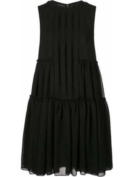 Черное платье-рубашка без рукавов с вырезом Vera Wang