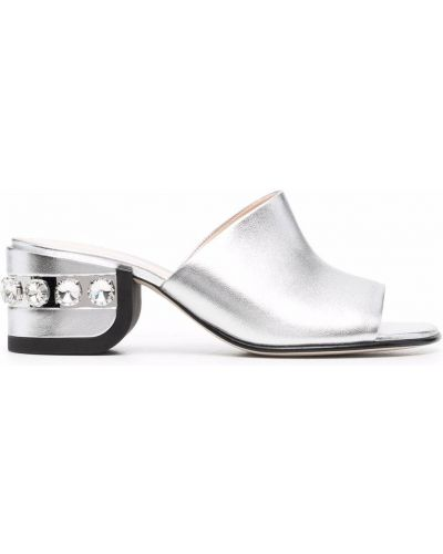 Sandały na obcasie srebrne peep toe Nicholas Kirkwood