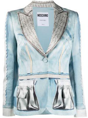 Шелковый однобортный синий удлиненный пиджак Moschino