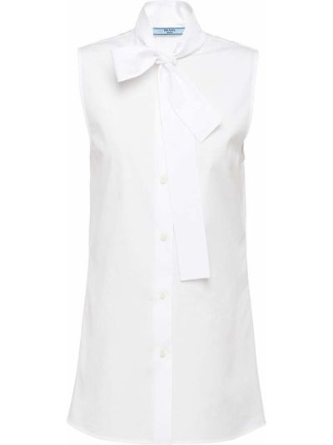 Белая прямая блузка без рукавов с бантом на пуговицах Prada