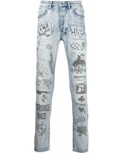 Niebieskie mom jeans z paskiem Ksubi