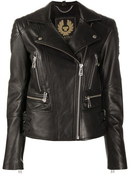 Черная кожаная длинная куртка с карманами Belstaff