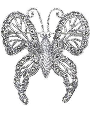 Серебряная брошь с камнями с бабочками марказит