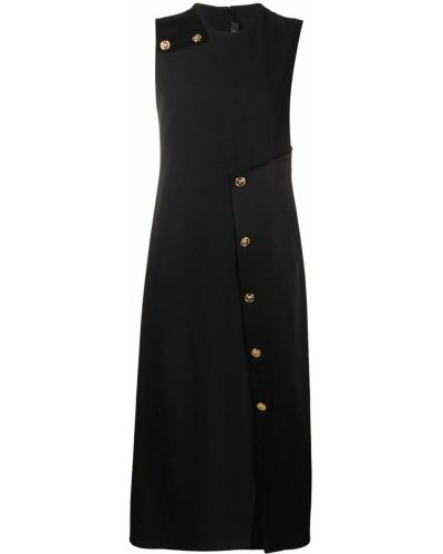 Прямое черное платье с вырезом Versace Collection