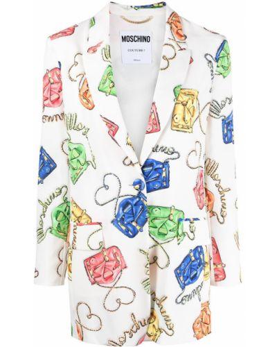 Шелковый белый удлиненный пиджак с карманами Moschino