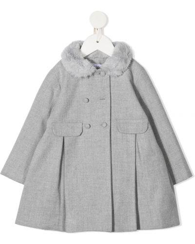 С рукавами серое длинное пальто из вискозы на пуговицах Patachou
