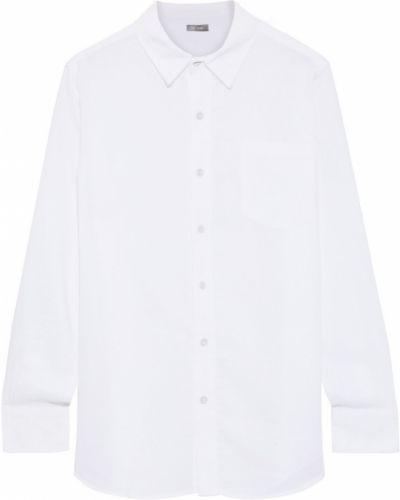 Льняная белая рубашка с карманами Dl1961