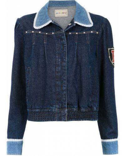 Синяя джинсовая куртка с вышивкой Andrea Bogosian