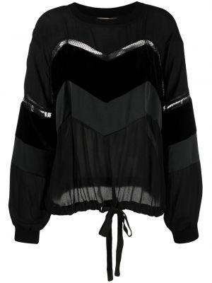 Czarny bluzka z długim rękawem z długimi rękawami z wiskozy okrągły Twin Set