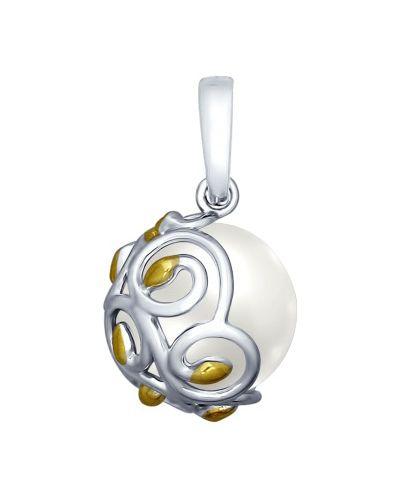 Серебряная подвеска с жемчугом с камнями Sokolov