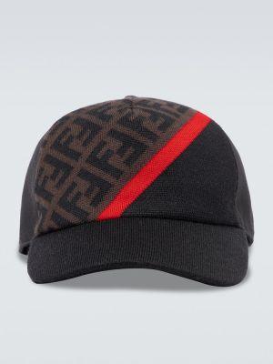 Baseball wełniany czarny czapka z daszkiem Fendi