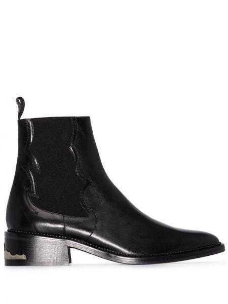 Кожаные черные ботинки на каблуке на каблуке Toga Virilis