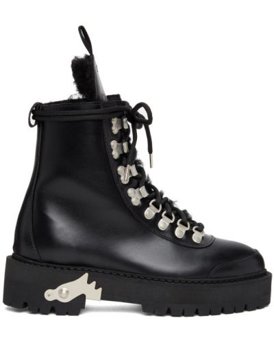 Кожаные черные ботинки трекинговые на каблуке Off-white
