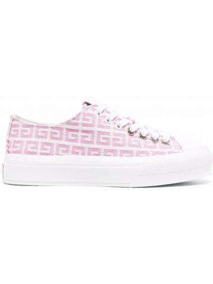 Buty sportowe skorzane - różowe Givenchy
