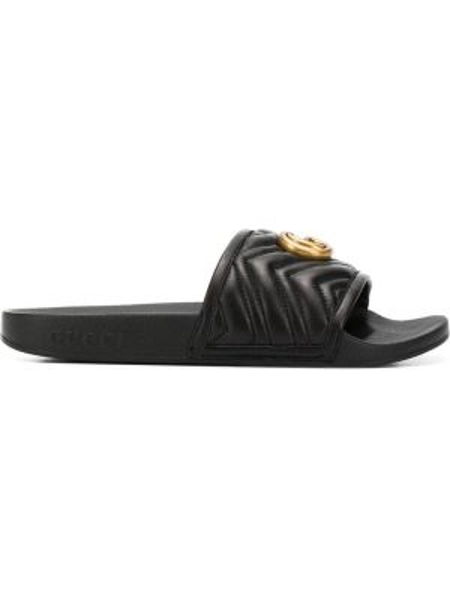 Czarne klapki skorzane na basen Gucci