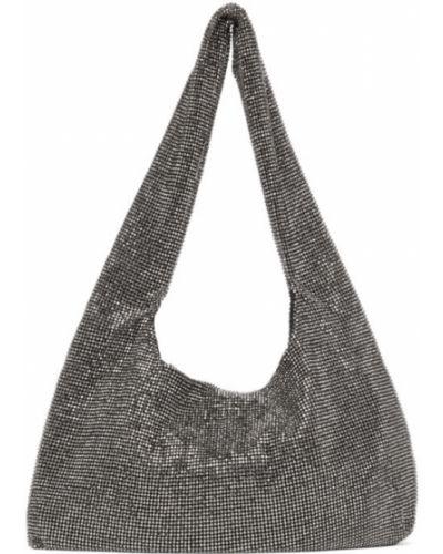 Czarna torebka z siateczką srebrna Kara