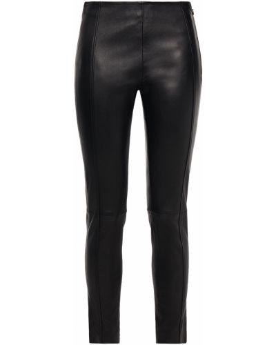 Черные кожаные брюки стрейч Joseph