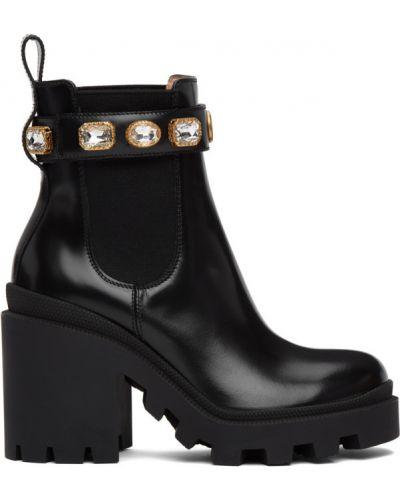 Czarny buty na platformie z prawdziwej skóry na platformie na pięcie Gucci