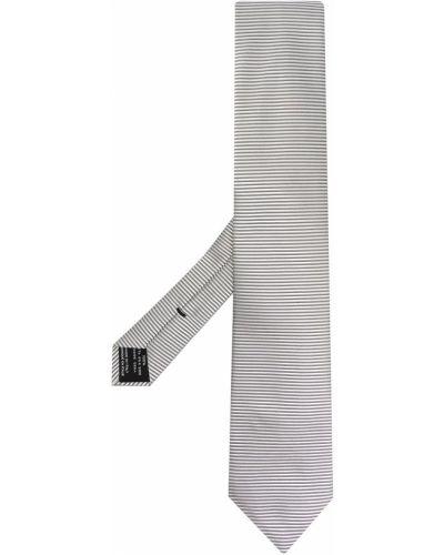 Шелковый серебряный галстук в полоску Tom Ford