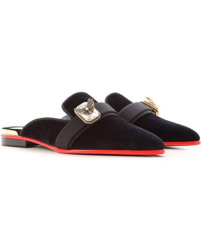 Skórzany czarny sandały z motylami Alexander Mcqueen