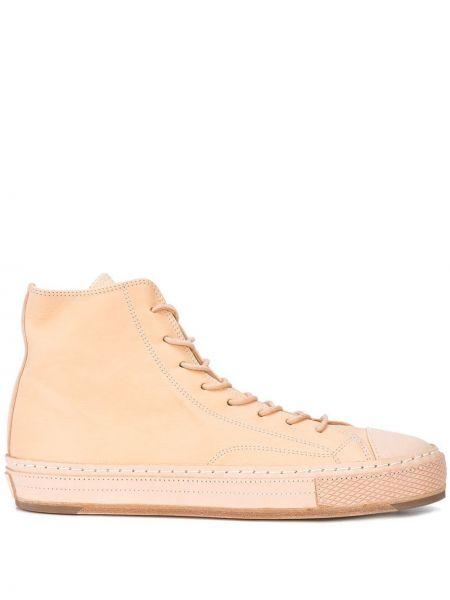 Бежевые кожаные высокие кроссовки на каблуке на шнуровке Hender Scheme