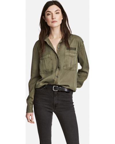 Зеленая рубашка H&m