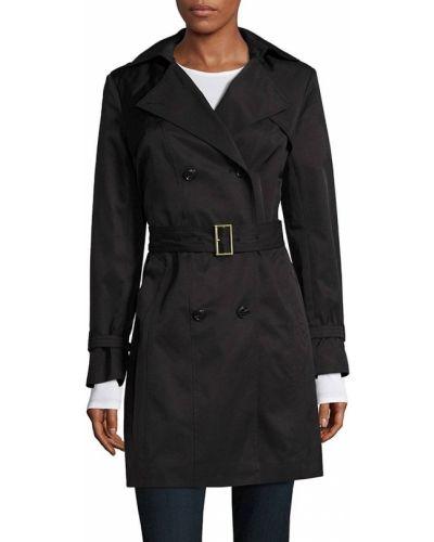 Czarny długi płaszcz z kapturem z klamrą Cole Haan