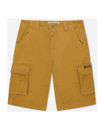 Бежевые хлопковые шорты карго Alpha Industries