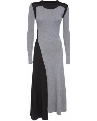 Вязаное серое платье миди со вставками с длинными рукавами Alexander Mcqueen