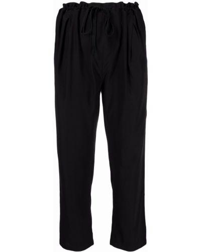 Шелковые черные укороченные брюки с карманами Kristensen Du Nord