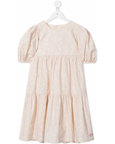 Biała sukienka mini bawełniana z printem Kenzo Kids