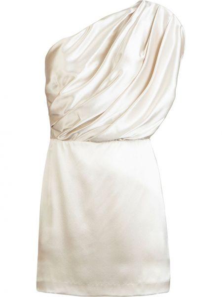 Белое приталенное шелковое платье мини Michelle Mason