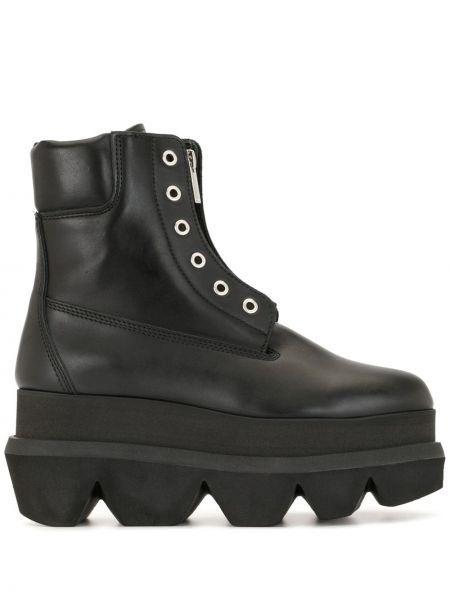 Czarne ankle boots na platformie skorzane Sacai