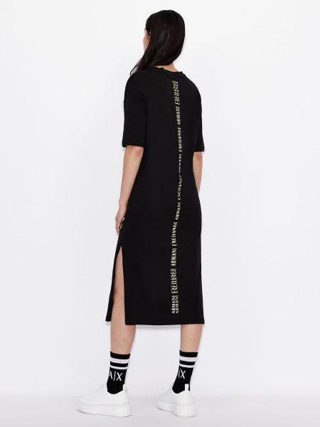 Трикотажное черное платье миди с короткими рукавами Armani Exchange