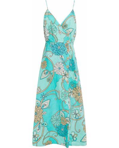 Платье миди с принтом - бирюзовое Nicholas