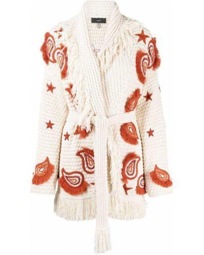 Шерстяное длинное пальто с вышивкой с лацканами Alanui