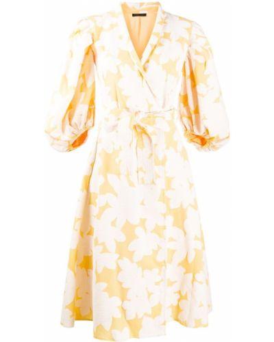 Желтое платье с рукавами с запахом с V-образным вырезом жаккардовое Stine Goya
