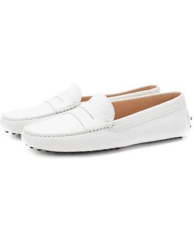 Белые кожаные мокасины Tods