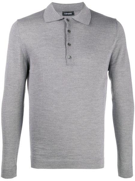Шерстяная серая рубашка с воротником с длинными рукавами Cenere Gb