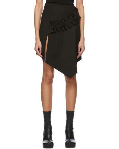 Skórzany czarny asymetryczny spódnica mini rozciągać Off-white