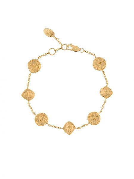 Желтый золотой браслет с подвесками Northskull