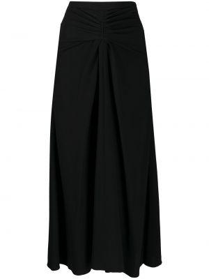 Черная прямая юбка миди с оборками Rochas